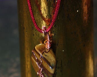 Tiger's Eye Tumblestone Copper Wire Wrapped Red Necklace