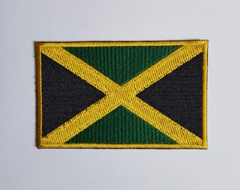 Jamaica Flag Jamaican Flag Patch Iron On Embroidered Patch 8.7 cm x 5.5 cm
