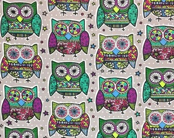 Fancy Owl Fabric, Cotton Fabric, 100 % Cotton, Quilting Fabric, Cotton Fabric, Fabric By the Yard, Apparel Fabric