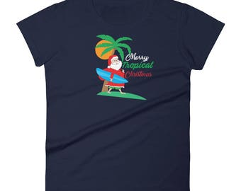 Tropical Christmas Women's short sleeve t-shirt, Hawaiian Christmas T-Shirt, Christmas Beach T-Shirt