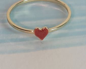 Dainty stacking ring - 2mm width - gold - red heart