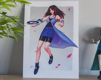 Video game art, video game poster, final fantasy poster, rinoa illustration, final fantasy art print, gift for gamers, ff viii illustration
