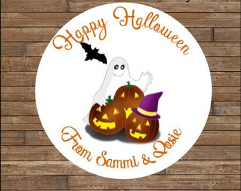Personalized Halloween Stickers   Halloween Pumpkins and Ghosts Stickers      Halloween Favor Tags        Halloween Treat Bag Tags