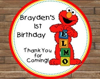 Personalized Elmo Stickers - Elmo Favor Tags - Elmo Birthday