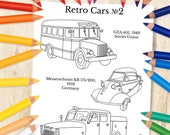 Retro Cars #2 Coloring | Cars Kids Coloring | Printable Coloring Page For Kids | Printable Cars Coloring | Printable PDF+JPEG Car Coloring
