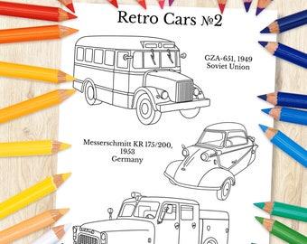 Retro Cars 2 Coloring