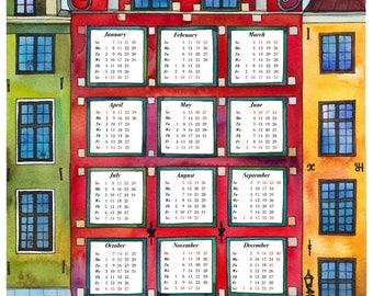 2018 Wall Calendar, Wall Calendar, Wall Planner, 2018 Calendar, 2018 Art Print, Watercolor Art, Wall Art, Home Decor, Watercolor Stockholm