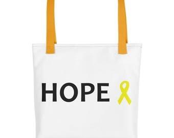 Hope Yellow Awareness Ribbon Tote Bag, Chronic Illness Tote Bag, Yellow Ribbon, Tote Bag, Awareness Ribbon