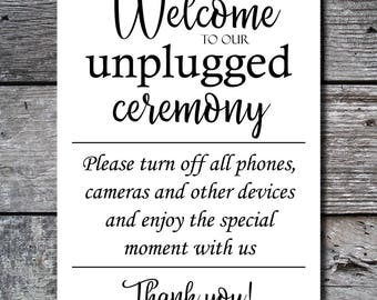 Unplugged Ceremony Sign, Printable Wedding Sign, Instant Download