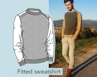 sewing pattern,PDF - WITT sweatshirt - sizes S,M,L,XL - Men's crew neck sweatshirt, sewing pattern for men,cartamodello pdf ,felpa da cucire
