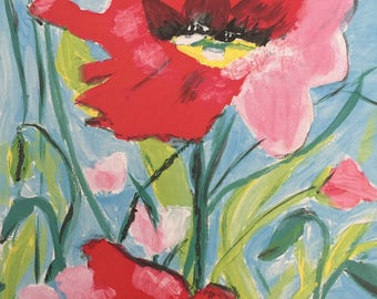 "Red and Pink Flowers Art Print 8"" x 10"""