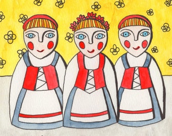 Original hand painted folk art Danish dolls
