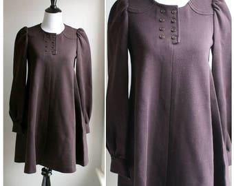 Vintage 1970s Gerard Darel dark brown long-sleeved Wool dress. Paris - France.