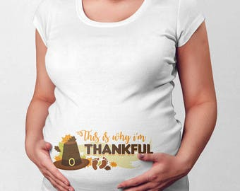 Thanksgiving Baby Announcement Maternity T Shirt Pregnancy Clothing Expectant Mom To Be Pregnant Clothes New Mommy Turkey Day TEP-443