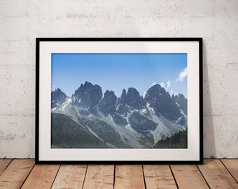 Mountain Prints, The Alps Digital Print, Early Winter Snow Printable, Nature Photography, Home Decor, Natural Landscape Wall Art, Sky Clouds