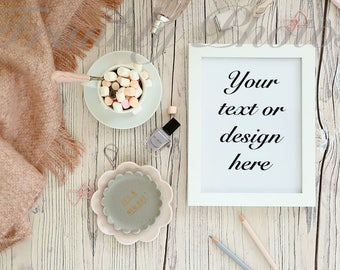 White Frame Stock Photo / Frame Mockup / Product Mockup / Styled Stock Photography / Styled Desktop / Flatlay /Frankly Photos File #29