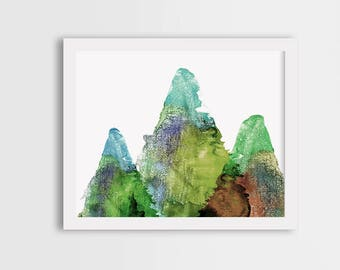Landscape wall art print, mountain print, green room decor, mountain painting, watercolor illustration, gift for her