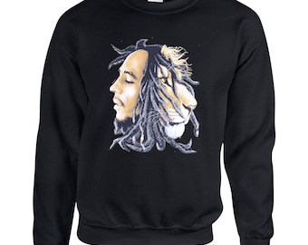 Bob Marley Rasta Lion Adult Unisex Designed Sweatshirt Printed Crew Neck Sweater for Women and Men