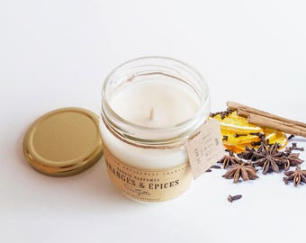 Orange and Spice-scented handcrafted soy wax