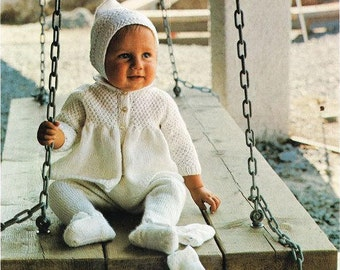 Vintage Knitting Pattern Baby Matinee Coat Leggings Bonnet Mittens Knit Set for 0-2yrs 18-22 in PDF Instant Digital Download Retro Design