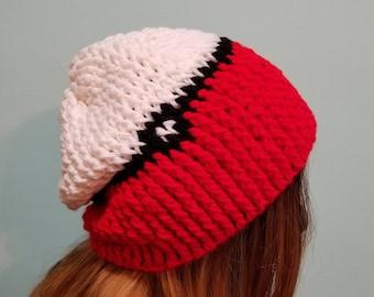 Handmade Crocheted Pokeball Beanie Hat