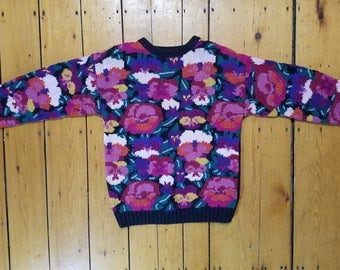 80's flower knit with pansy pattern sweater