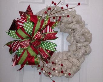Beautiful Cream Burlap Wreath