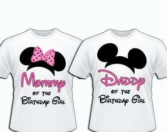 DIY Mickey Mouse Daddy Mommy Minnie Mouse Family Set, Disney Family T-Shirts iron on, Disney Birthday Party T-shirts Personalized Matching