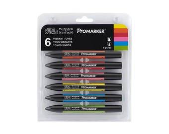 Winsor & Newton Promarker -  6 Twin-Tip Markers: Poppy, Mandarin, Cyan, Bright Green, Yellow, Cerise