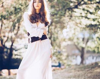 Transparent sexy elegant classy beige long dress