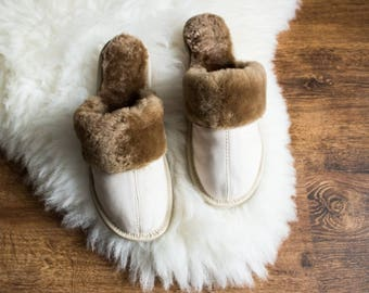 SHEEPSKIN slippers LEATHER fur slippers Women moccasins warm winter slippers white sheep wool slippers