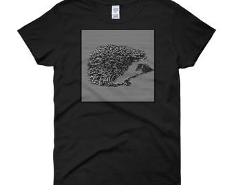 Funny Hedgehog Album Cover Shirt - Hedgehog Joy Division Unknown Pleasantries Women's t-shirt - Unknown Pleasures -New Wave - Gifts For Her