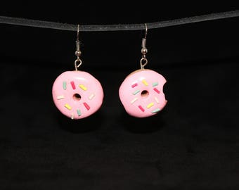 Classic Pink Frosted Donut Earrings