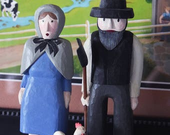 Amish Farm Couple with Chicken – Folk Art Carving
