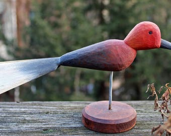 Red Bird Whirlygig – Folk Art Carving