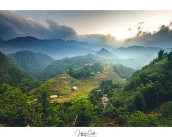 Mountain Sunset Photo // Sa Pa Vietnam Landscape Photography, Asia Nature Print, Asian Wall Art, Mountainscape Home Decor, Muong Hoa Valley