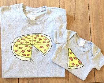 Matching Pizza Set for Baby and Daddy/Mommy. Mommy shirt Daddy Shirt Pizza baby shirt bodysuit