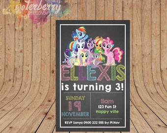 Personalised My Little Pony Birthday Party Invitation DIGITAL You Printed