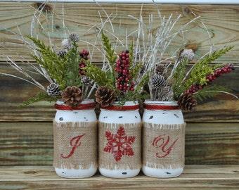 Christmas & Winter, Rustic Mason Jars Decor , set of 3 Jars, Home Deco, Chritmas Jars, Christmas Gift,