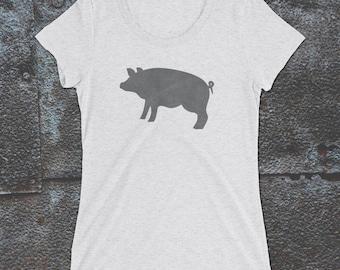 Grey Pig Tshirt, Piglet, Pig Tee, Women's Clothing, Farm Animal, Women's Pig Tee, Grey Pig Tee, Curly Tail Pig