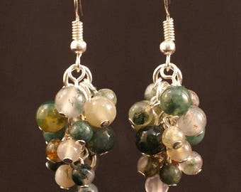 Green Fancy Jasper grape-shaped earrings