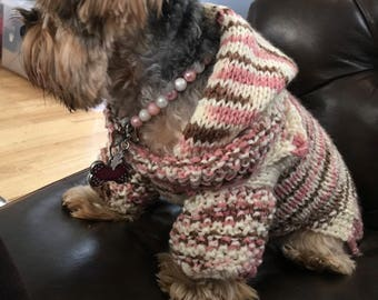 Hand Knitted Dog Sweater with Hoodie