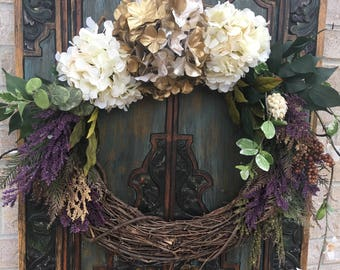 Everyday Hydrangea Wreath, Front Door Wreaths, Rustic Wreaths, Farmhouse Wreaths, Hydrangea Wreaths, Indoor and Outdoor Wreaths