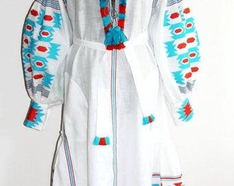 Vyshyvanka Embroidered Dress Bohemian Clothing Ukrainian Dresses Custom Embroidery Boho Clothes Caftan Kaftan Dubai Abaya Long Vishivanka