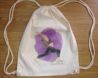 Yoga rope backpack, backpack Koikima Store, illustration yoga, backpack cotton, natural, gift, backpack fabric, original backpack, bag