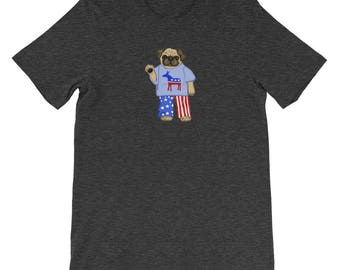 Funny Pug Shirt - Democrat USA Pug T-Shirt - Political Dog Shirt