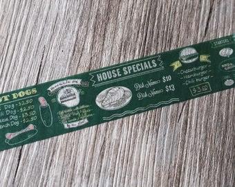 menu washi tape,Blackboard Menu Washi Tape,food washi tape, chef washi tape,Signboard Washi Tape,
