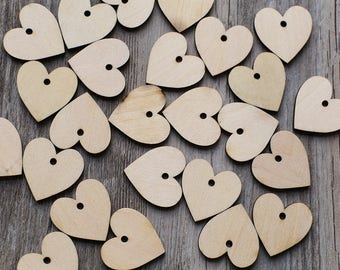 Unfinished wooden heart with hole,plain wood Embellishments for Craft ,DIY Crafting Wood laser cut gift tags, scrapbooking embellishments