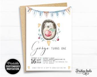 Hedgehog Birthday Invitation woodlands printable invite, Girls boys Hedgehog Birthday Invite party Digital Download