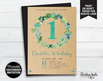 Butterfly Floral Wreath Birthday Invitation, printable kids birthday invite, any age birthday party personalised Digital Download